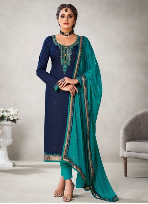 Embroidered Navy Blue Silk Pant Style Suit