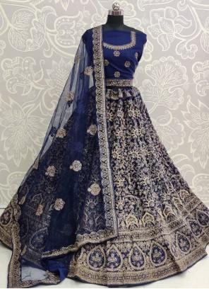Embroidered Net Blue A Line Lehenga Choli
