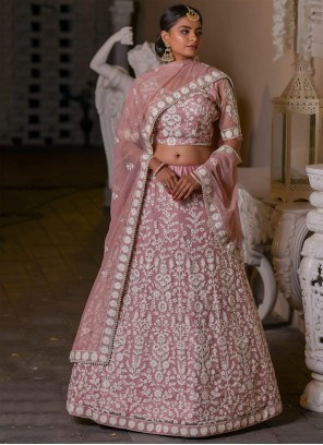 Embroidered Net A Line Lehenga Choli in Pink