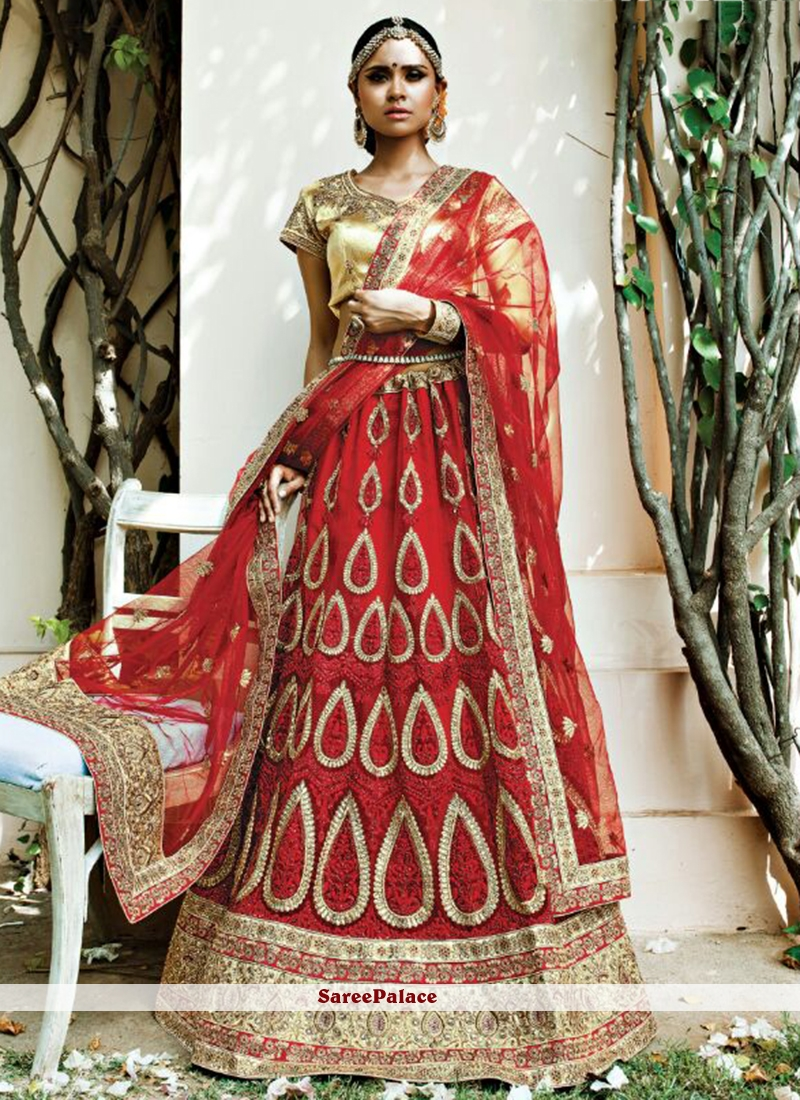 Embroidered Net A Line Lehenga Choli in Red