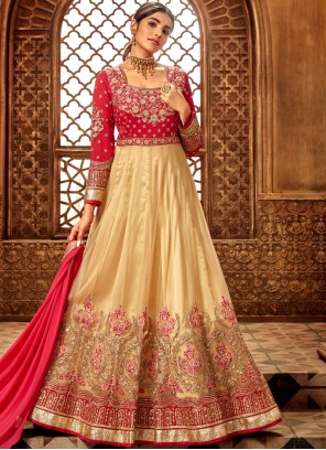 Embroidered Net Anarkali Suit in Cream