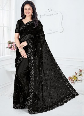 Embroidered Net Black Designer Saree