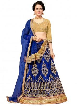 Embroidered Net Blue Lehenga Choli