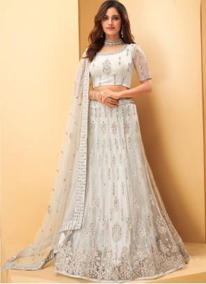 Embroidered Net Bollywood Lehenga Choli in White