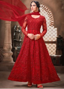 Embroidered Net Bollywood Salwar Kameez in Red