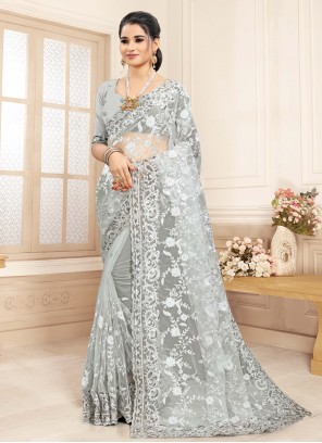 Embroidered Net Bollywood Saree in Grey