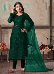 Embroidered Net Green Churidar Designer Suit