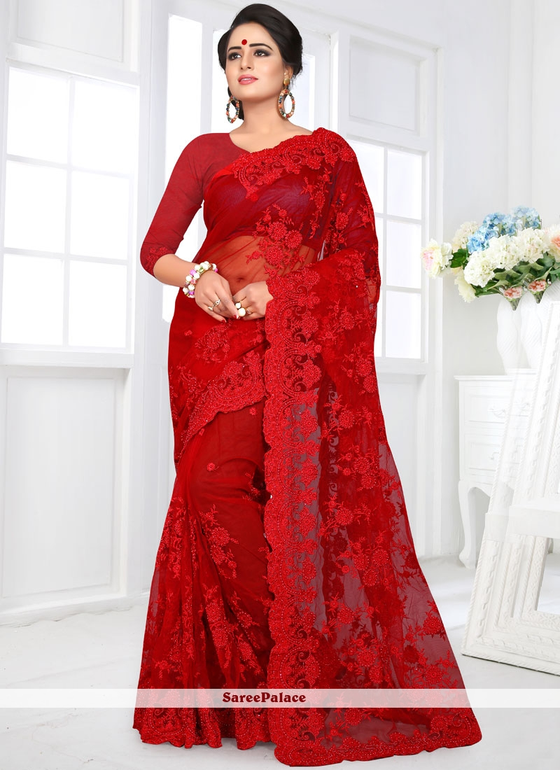 Red Embroidered Net Classic Designer Saree