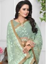 Embroidered Net Classic Designer Saree in Sea Green