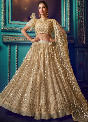 Embroidered Gold Net Designer Lehenga Choli