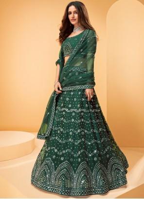 Embroidered Net Designer Lehenga Choli in Green