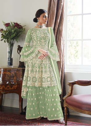 Embroidered Net Designer Palazzo Salwar Suit in Green