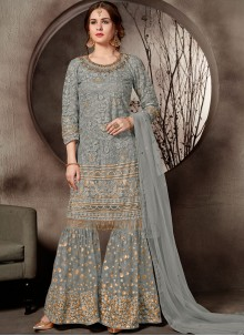 Embroidered Net Designer Palazzo Salwar Suit in Grey