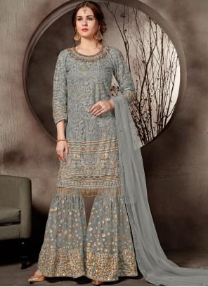 Embroidered Net Designer Palazzo Salwar Suit in Grey