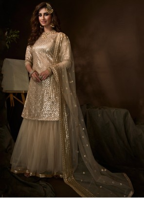 Embroidered Net Designer Salwar Suit in Cream