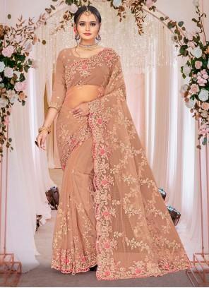 Beige Embroidered Net Designer Saree
