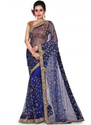 Embroidered Net Designer Saree in Navy Blue