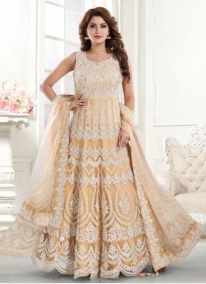 Yellow Embroidered Net Floor Length Anarkali Suit