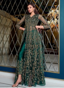 Blue Embroidered Net Floor Length Anarkali Suit