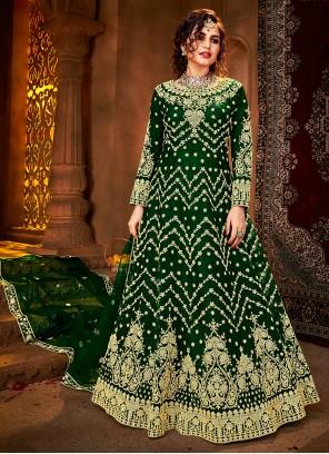 Green Embroidered Net Floor Length Anarkali Suit