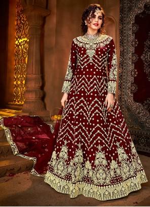 Embroidered Net Floor Length Anarkali Suit in Maroon