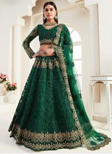 Embroidered Net Green Lehenga Choli