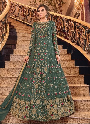Embroidered Net Green Salwar Suit