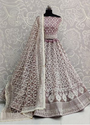 Embroidered Net Lavender A Line Lehenga Choli