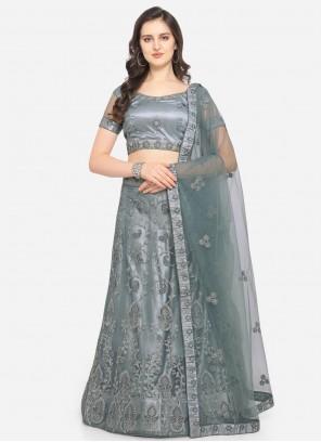 Embroidered Grey Net Lehenga Choli