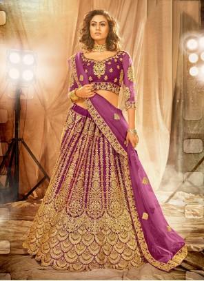 Purple Embroidered Net Lehenga Choli