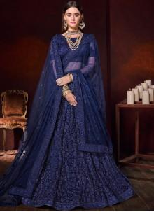 Embroidered Net Lehenga Choli in Blue
