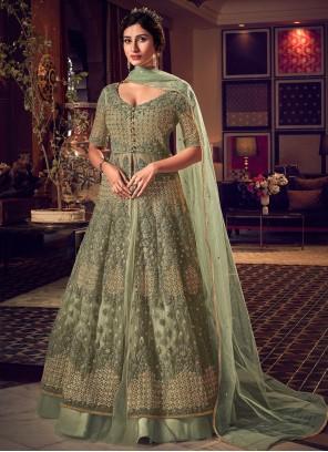 Embroidered Net Long Length Designer Anarkali Suit in Green