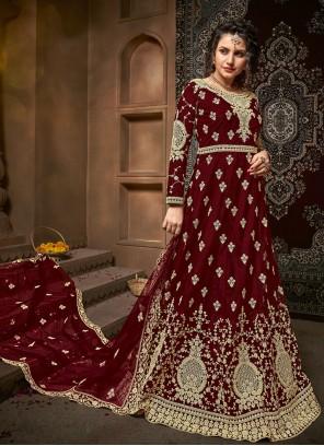 Embroidered Net Maroon Designer Salwar Kameez