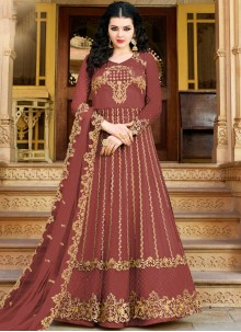 Embroidered Net Maroon Designer Salwar Suit