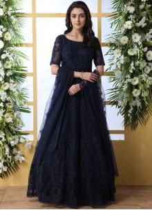 Embroidered Net Navy Blue Designer Gown