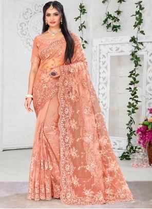 Embroidered Net Peach Designer Saree