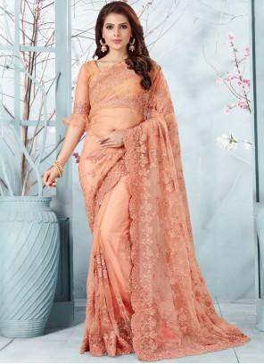 Embroidered Net Peach Traditional Designer Saree