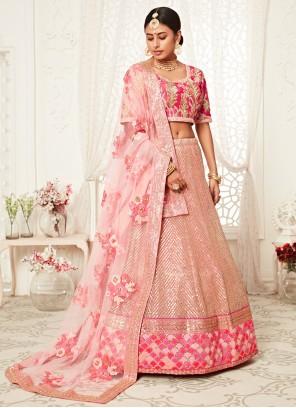 Embroidered Net Pink Bollywood Lehenga Choli