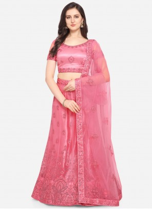 Embroidered Net Pink Lehenga Choli