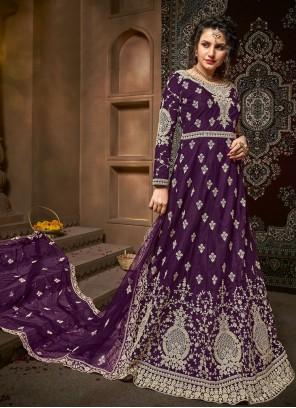 Embroidered Net Purple Bollywood Salwar Kameez