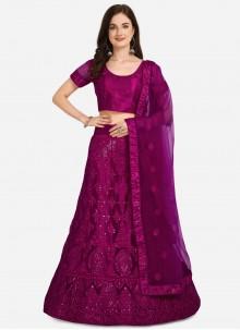 Embroidered Net Purple Lehenga Choli