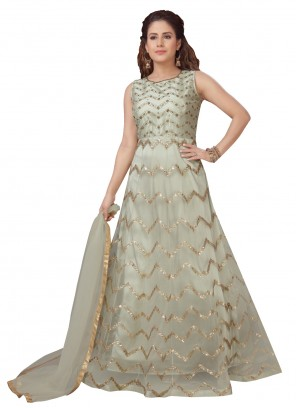 Embroidered Net Readymade Light Green Anarkali Suit