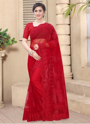 Embroidered Net Red Classic Saree