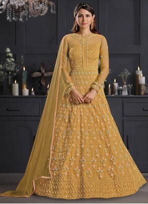 Embroidered Net Salwar Suit in Mustard