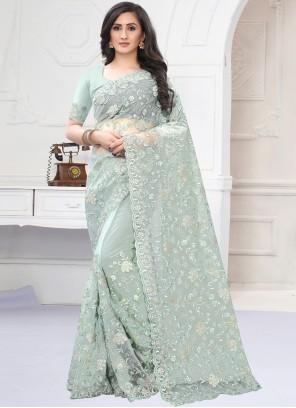 Embroidered Net Sea Green Classic Designer Saree