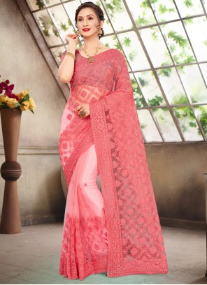 Embroidered Net Pink Traditional Saree
