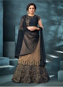 Embroidered Net Trendy Designer Lehenga Choli in Beige