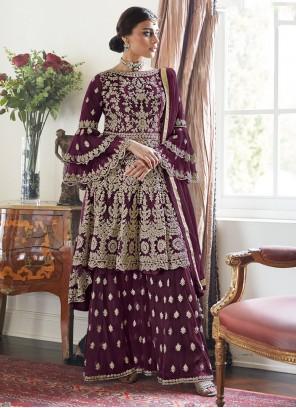 Embroidered Net Trendy Salwar Suit in Purple