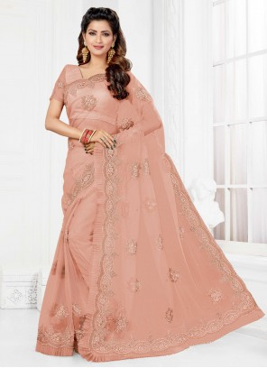 Embroidered Net Pink Trendy Saree