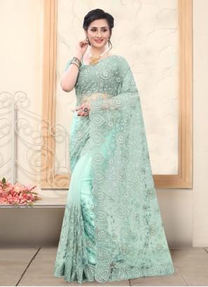 Embroidered Net Sea Green Trendy Saree